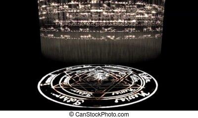 obracający, chrystus, rune, dookoła, czary, pentagram,...