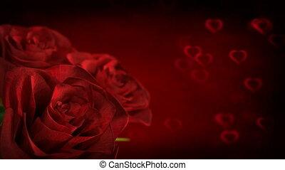 obracający, czerwony podniosłem się, z, serce, cząstki, -, 3d, render., seamless, pętla