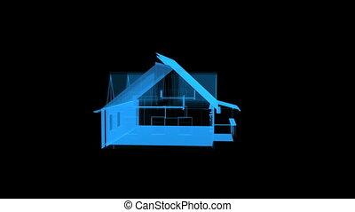 obracający, dom, przeźroczysty