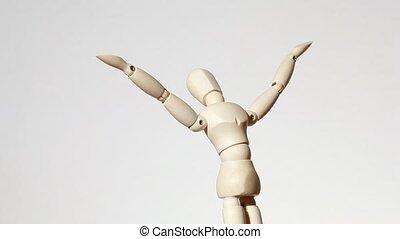 obracający, drewniany, figura, od, człowiek, z, podniesione...