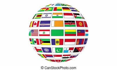 obracający, kula, bandery, świat