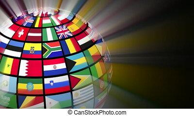 obracający, kula, z, świat, bandery