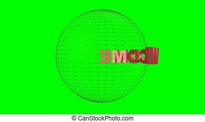 obracający, screen., sphere., o, wireframe, pożądany, zielony, napis, intro