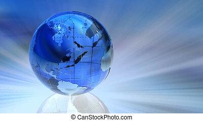 obracający, szklana kula, ziemia