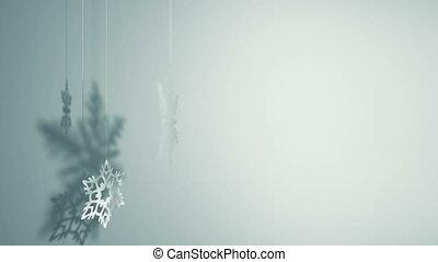 obracający, trzy, płatki śniegu