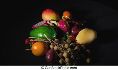 obracający, video, owoce, egzotyczny