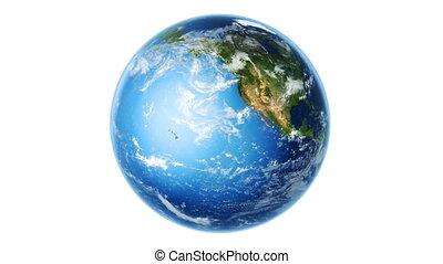 obracający, ziemia, biały, (loop)