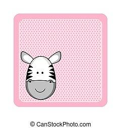 obraz, barwny, powitanie, zebra, zwierzę, karta