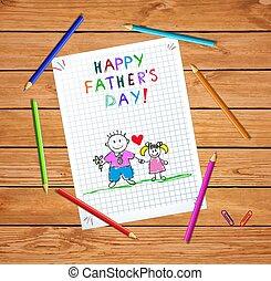 obraz, córka, ojciec, ręka, pociągnięty, koźlę, dzień, szczęśliwy