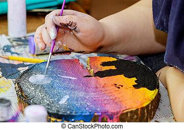 obraz, dziewczyna, barwny, drewniany, szczotki, malatura, używa