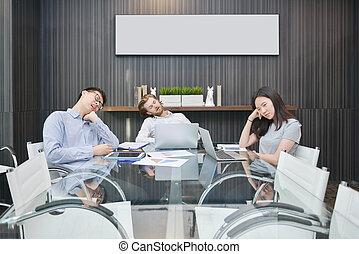 obraz, grupa, pokój, handlowy zaludniają, spanie, czysty, spotkanie
