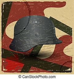 obraz, hełm, faszysta, rocznik wina, wojskowy, karta