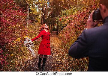 obraz, jego, doprowadzenia, jesień, aparat fotograficzny, las, sympatia, używając, człowiek