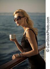 obraz, kawa, dama, zdziwiony, filiżanka
