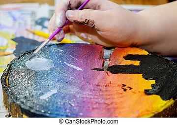 obraz, malatura, drewniany, dziewczyna, używa, barwny, szczotki