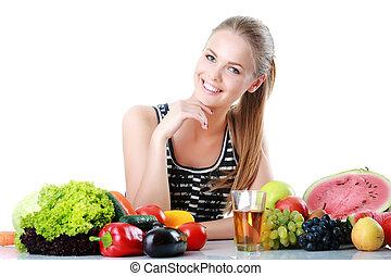 obraz, od, śliczny, kobieta, z, owoc