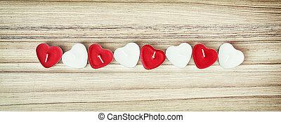 obraz, od, czerwony i biały, serce, świece, na, przedimek określony przed rzeczownikami, drewniany, tło, valentine dzień