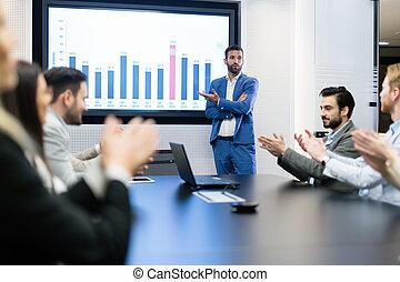 obraz, od, handlowe spotkanie, w, konferencyjny pokój