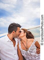 obraz, para, jacht, młody, szczęśliwy