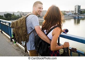 obraz, para, młody, transport, pociągający, skateboards