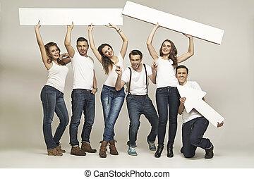 obraz, przedstawiając, śmiech, grupa przyjaciół