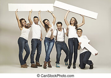 obraz, przyjaciele, grupa, przedstawiając, śmiech