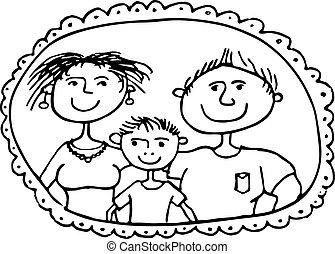obraz, rodzice, rodzina, syn