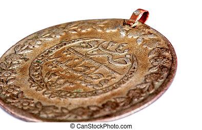 obraz, starożytny, do góry, otomana, zamknięcie, pieniądz