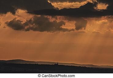obraz, sylwetka, popisowy, niebo, przeciw, mały, zachód słońca, kościół, pomarańcza, backgrounded