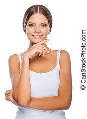 obraz zdrowia, i, vitality., uśmiechanie się, młoda kobieta, dzierżawa ręka, na, podbródek, i, aparat fotograficzny przeglądnięcia, znowu, reputacja, przeciw, białe tło