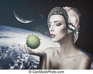 obrazowość, nauka, cyborg, używany, backgrounds., kobieta, ...