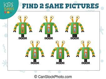 obrazy, illustration., wektor, dwa, znaleźć, gra, dzieciaki...