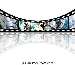 obrazy, jacht, morze, pas, otwarty, film