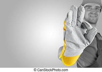 obrero, elaboración, un, perfecto, gesto