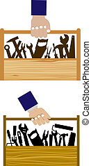 obrero, proceso de llevar, caja de herramientas, diy