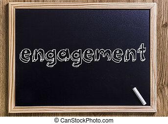 obrigação, -, novo, chalkboard, com, 3d, esboçado, texto