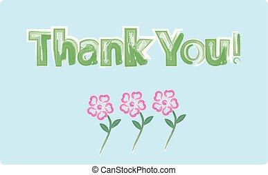 obrigado cartão, aquarela, flores