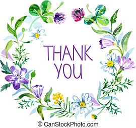obrigado cartão, com, aquarela, floral, bouquet., vetorial,...