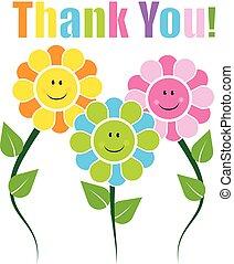 obrigado cartão, com, feliz, caras, flores