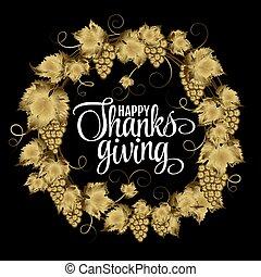 obrigado, dourado, silueta, ouro, dar, grap, grinalda, text., ação graças, ilustração, tipografia, dia outono, vetorial, cartazes, eps10, brilhar, feliz, design.