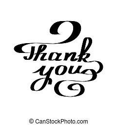 obrigado, handwritten., obrigado, lettering., pretas, lettering, isolado, branco, experiência., vetorial, ilustração
