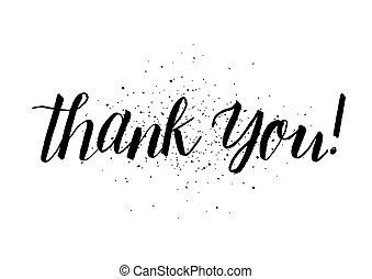 obrigado, inscription., cartão cumprimento, com, calligraphy., mão, desenhado, design., preto, white.