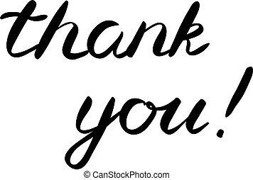 obrigado, mão fez, escova, lettering