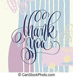 obrigado, mão, lettering, cartaz, ligado, pintura abstrata, fundo