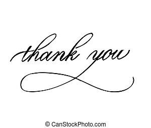 obrigado, -, mão, lettering, inscrição, para, feriado, desenho, preto branco, tinta, caligrafia
