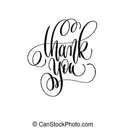 obrigado, -, mão, lettering, inscrição, texto