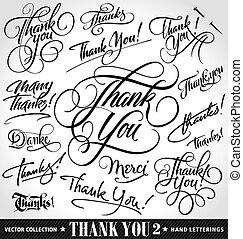 obrigado, mão, lettering, jogo, vetorial