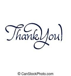 obrigado, mão, lettering, -, texto