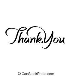 obrigado, mão, lettering, texto
