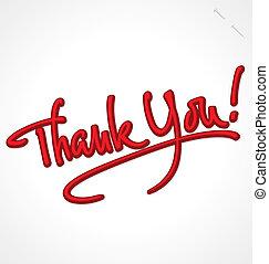 obrigado, mão, lettering, (vector)